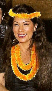 Michaela Larson, pa'u queen for King Kamehameha Day Parade, Kailua-Kona, 2014