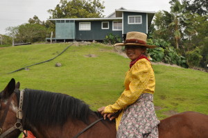The old way of pa'u involved calico fabric fastened with rope